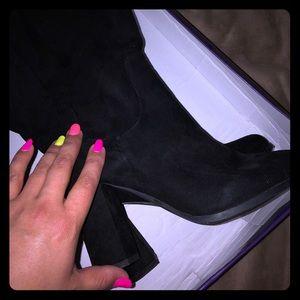 Nib Madden girl klash boots black block heel Sz 8